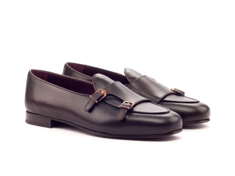 Dark brown monk slippers for men in box calf Cambrillon