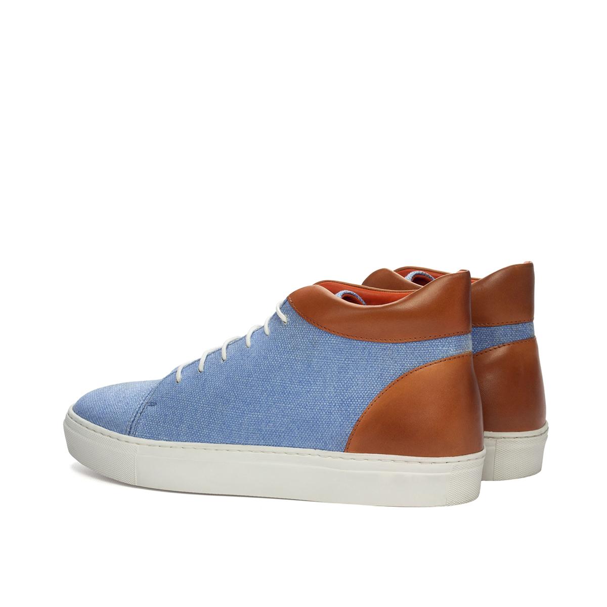 Blue linen high-top sneakers