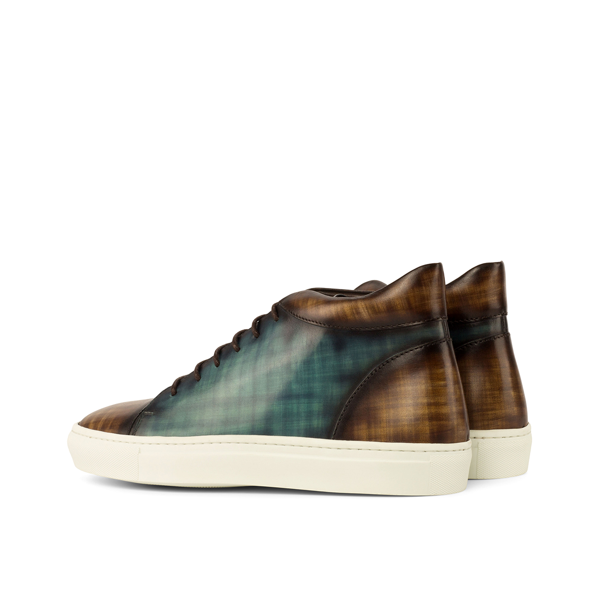 Crust patina turquoise high top sneakers