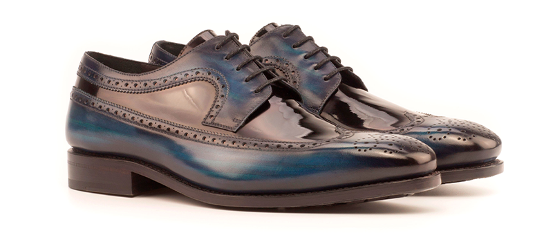Longwing Goodyear Welted - Patina Medium - Crust Patina Denim-Patent Black