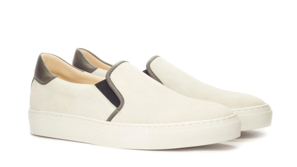 Slip On Sneaker - Box Calf White-Faux Croco Black-Painted PebbleGrain Black