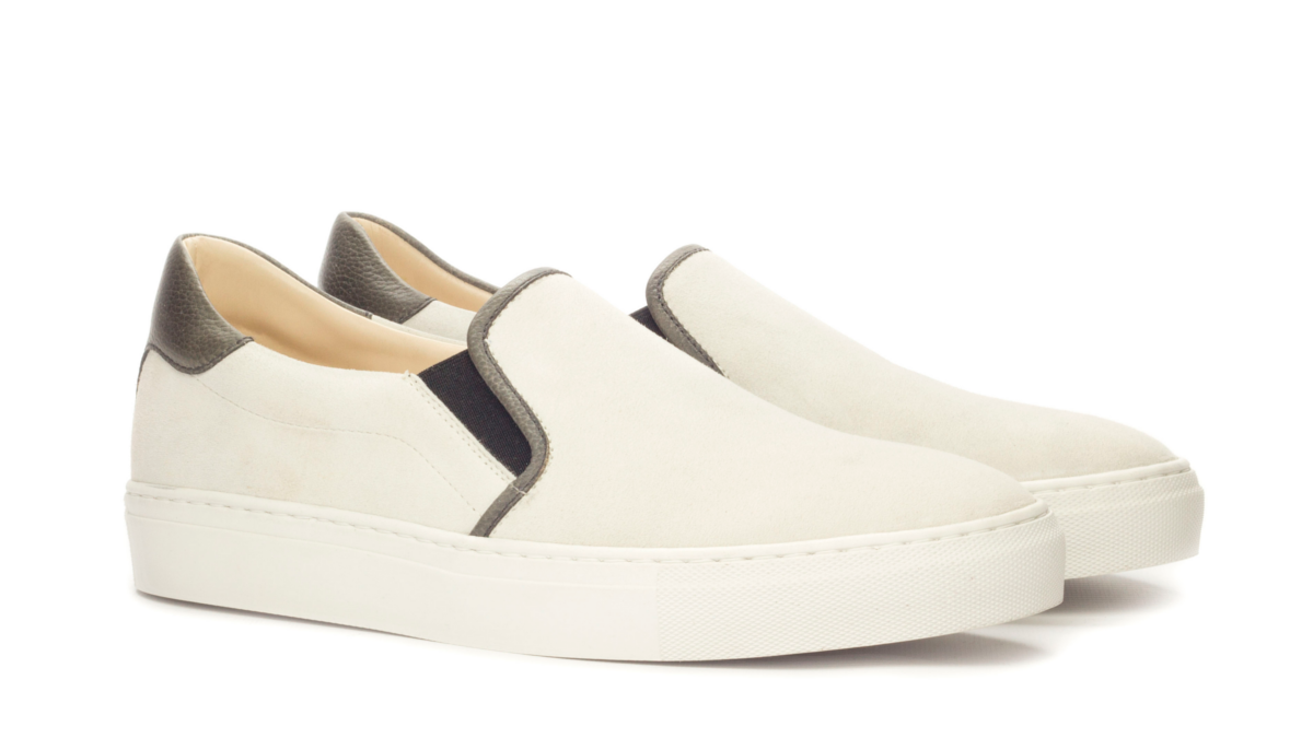 Slip On Sneaker - Box Calf White-Faux Croco Black-Painted PebbleGrain Black