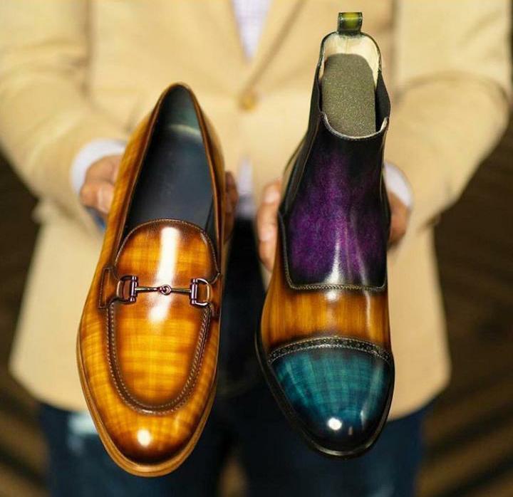 botas y zapatos patinados para hombre