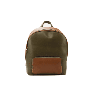 Men's bespoke backpack in boxcalf cognac and khaki BURTON