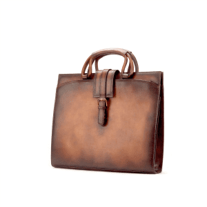 Men's bespoke briefcase painted calf cognac GAMA