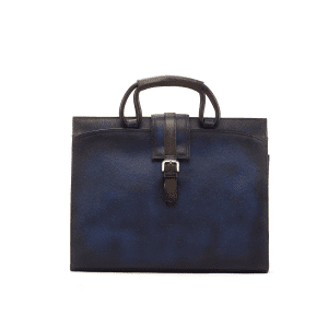 Men's bespoke briefcase painted calf navy GAMA