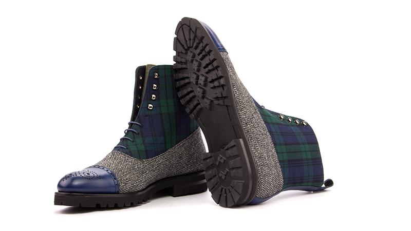 Balmoral boot herringbone black green flannel
