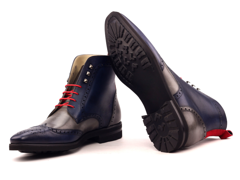 wingtip boots for men in blue and grey boxcalf Cambrillon