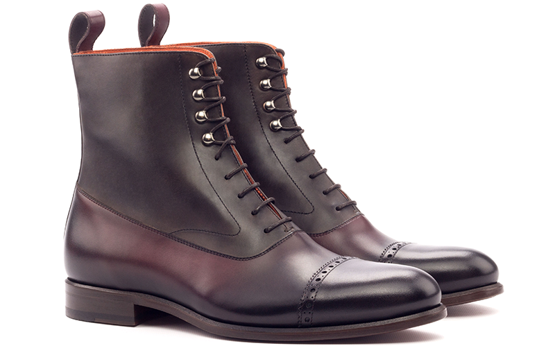 Balmoral Boot - Dark Burnishing - painted Calf Burgundy And Dark Brown