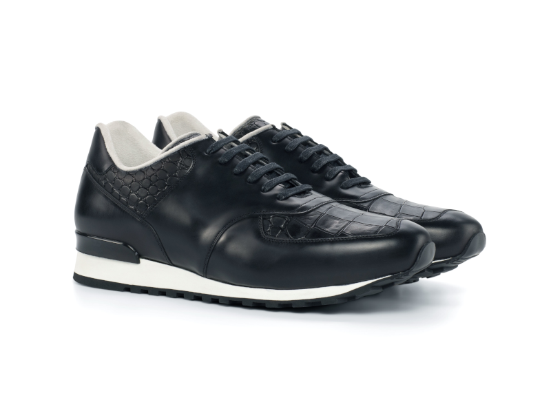 Jogger Sneaker for men in black box calf Cambrillon-1