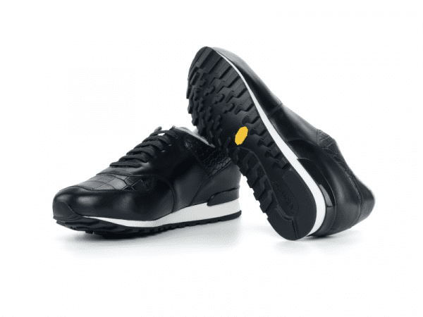 Jogger Sneaker for men in black box calf Cambrillon-3