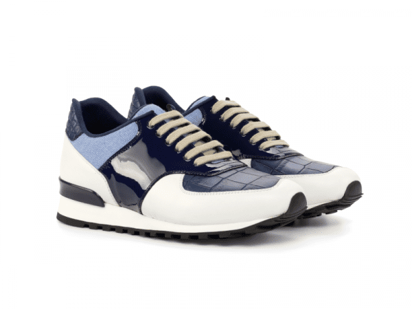 Jogger Sneaker for men in blue and white calf leather Cambrillon-1