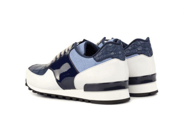 Jogger Sneaker for men in blue and white calf leather Cambrillon-2