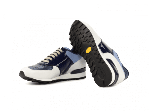 Jogger Sneaker for men in blue and white calf leather Cambrillon-3