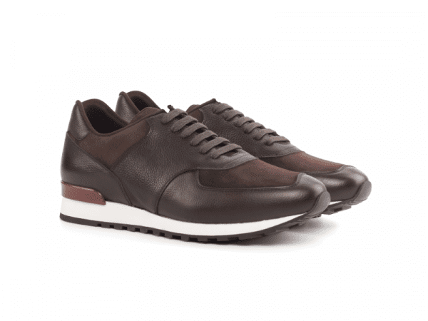 Jogger Sneaker for men in brown suede Cambrillon-1
