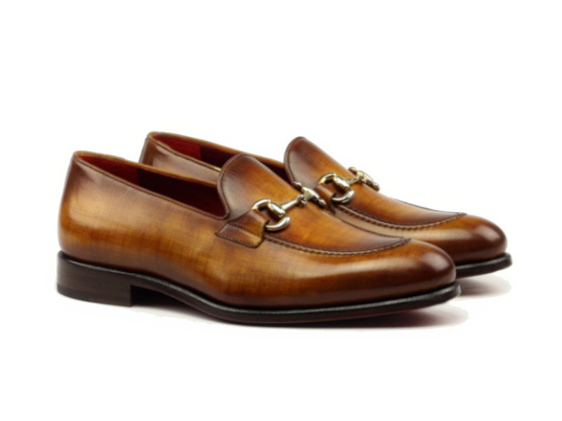 Gucci loafer for men in hand painted cognac patina Cambrillon