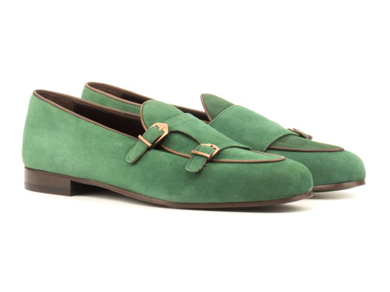 Monk Slipper for men in green suede Cambrillon