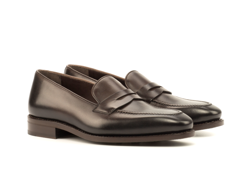Brown box calf Penny loafer for men Goodyear welted Cambrillon