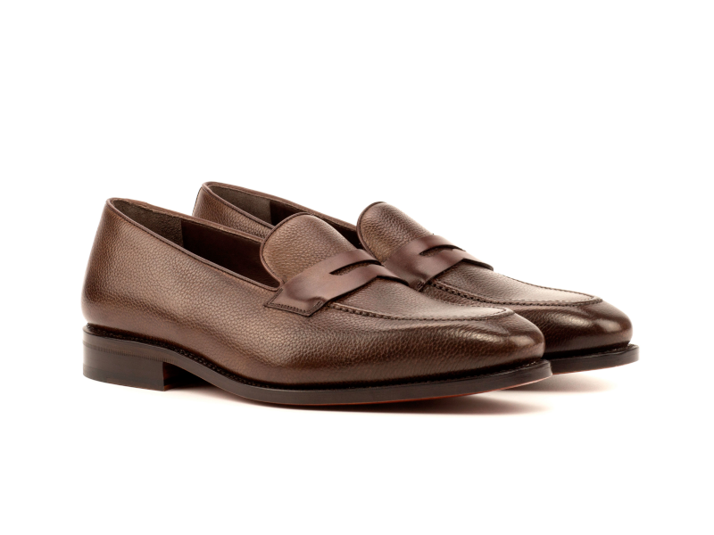 Brown full grain Penny loafer for men Goodyear welted Cambrillon