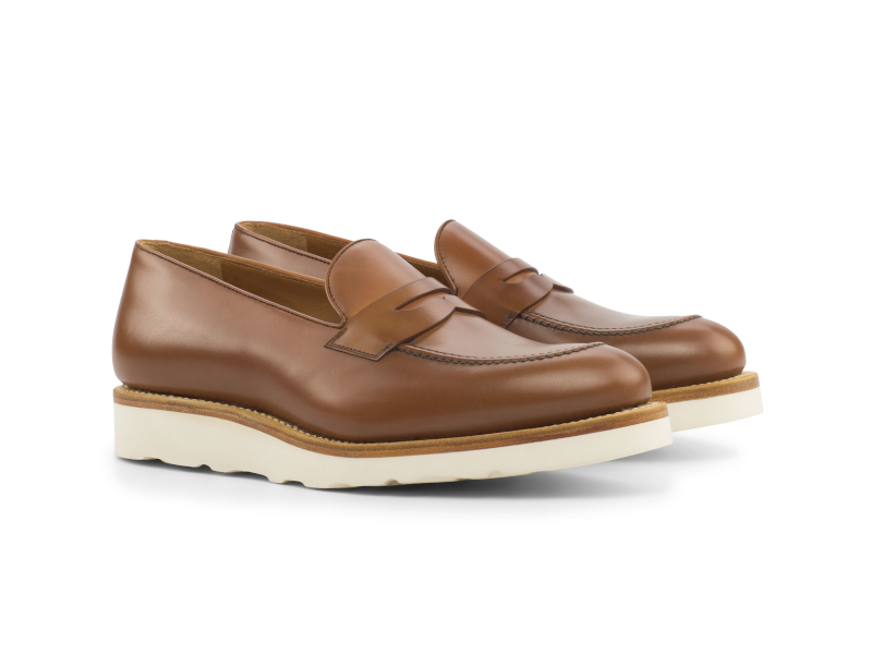 Penny loafer for men in brown box calf Goodyear welted Cambrillon
