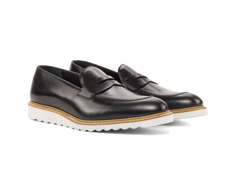 Penny loafer for men in black box calf Goodyear welted Cambrillon