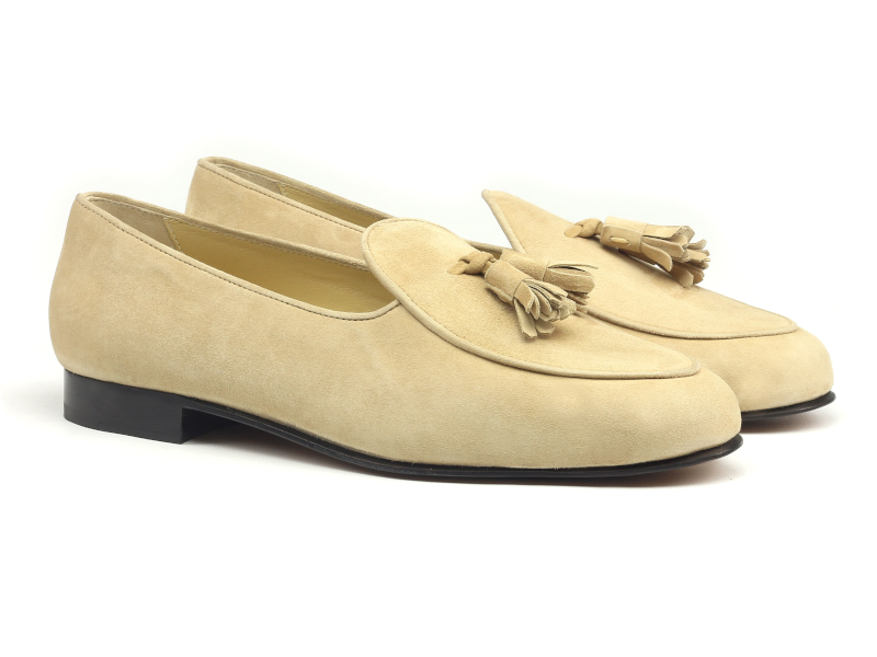 Belgian slipper for men in ivory suede Cambrillon