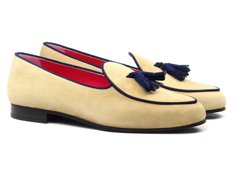 Belgian slipper for men in beige and blue suede Cambrillon