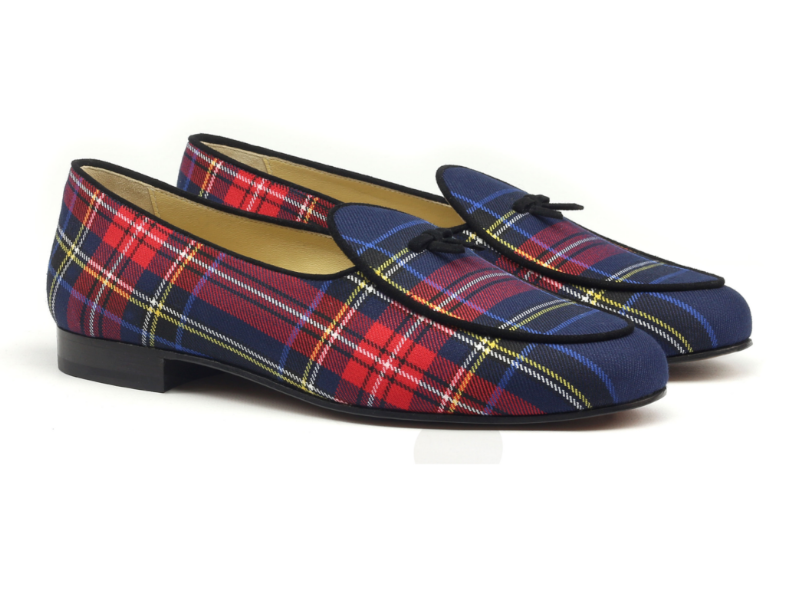 Belgian slipper for men in tartan and suede Cambrillon