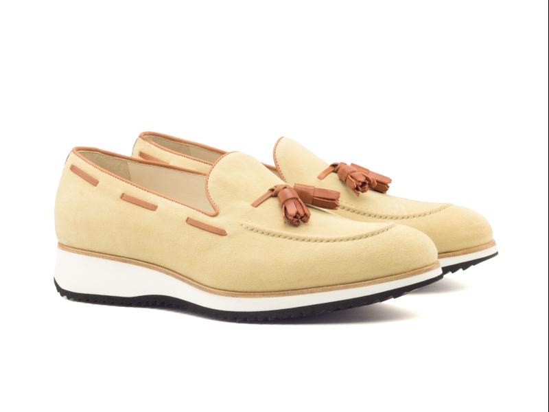 Tassel loafer for men in beige suede Cambrillon