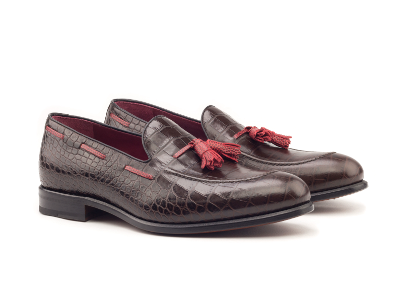 Tassel loafer for men in brown croco leather Cambrillon