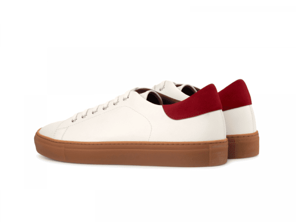Trainer for men in white box calf and red suede Cambrillon 2