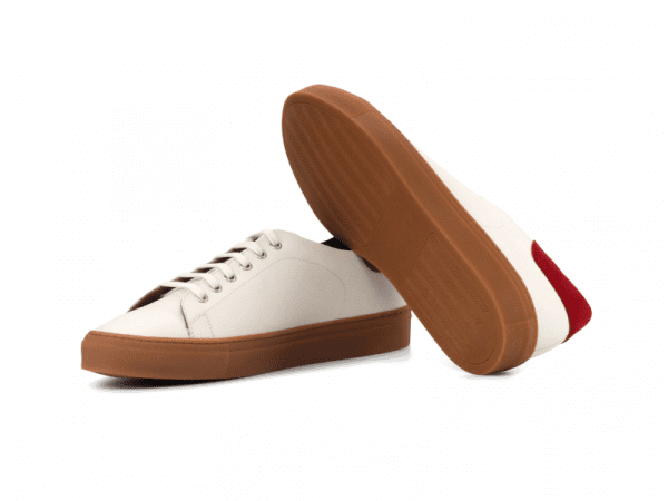 Trainer for men in white box calf and red suede Cambrillon 3