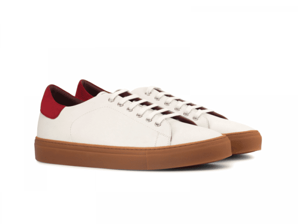 Trainer for men in white box calf and red suede Cambrillon