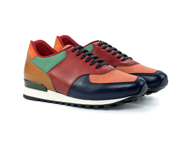 Jogger Sneakers for men in linen suede and boxcalf Cambrillon-1