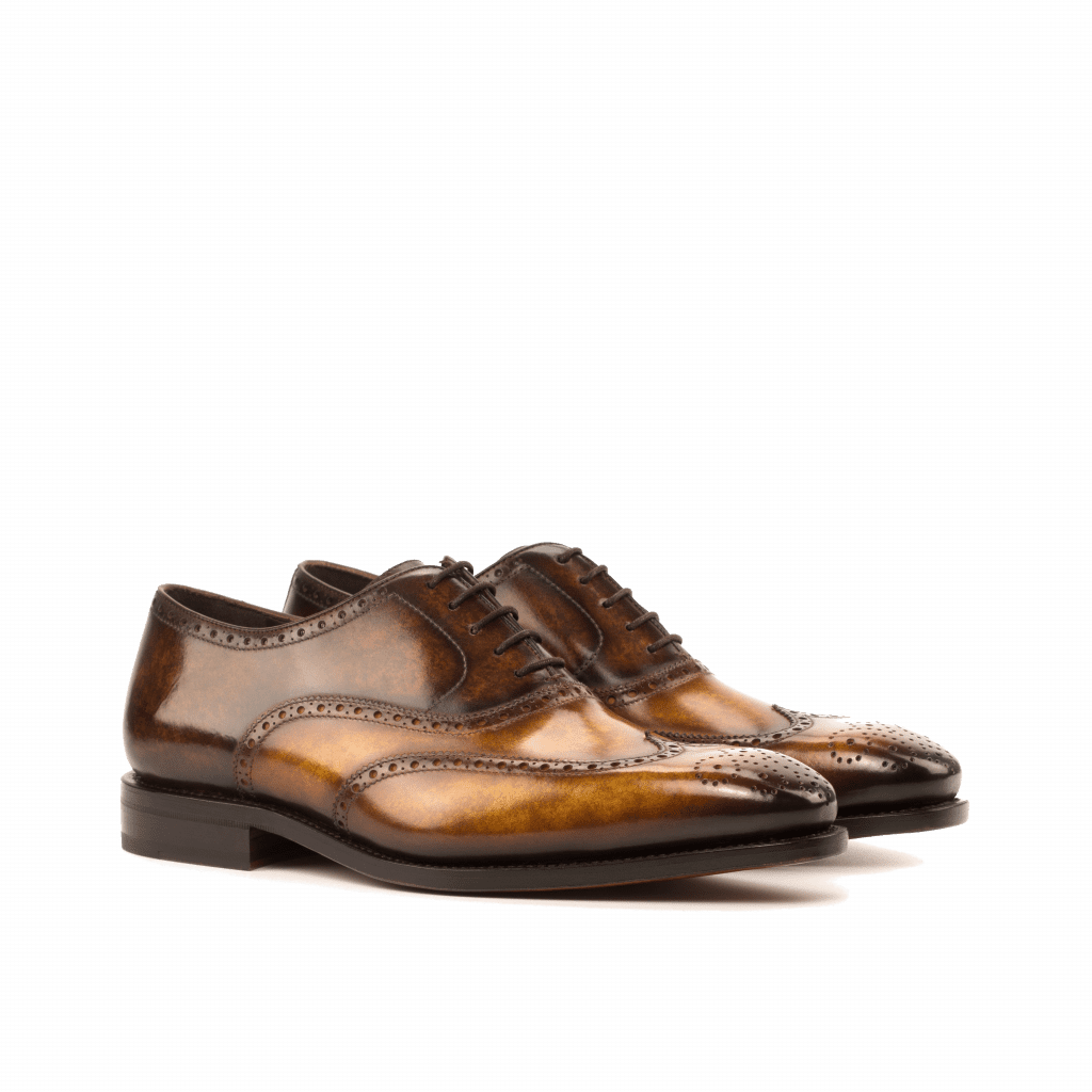Wingtip Oxfords shoes hand painted patina Goodyear welted Cambrillon