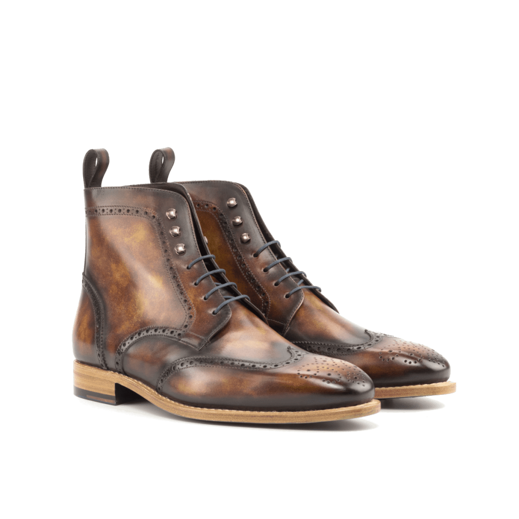 Goodyear Welted Patina Wingtip Boots for men Cambrillon